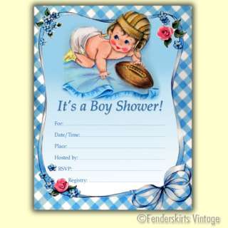 Vintage Retro 50s Baby Boy Football Shower Invitations