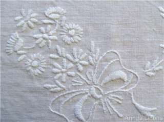 Antique White Linen Cloth Hand Embroidered Whitework Flower Swags