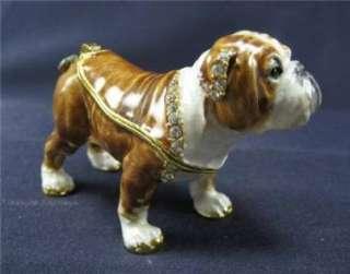 Tan English Bulldog Trinket Box Swarovski Bejeweled