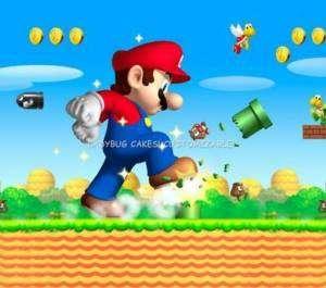 Super Mario Bros Edible Cake Topper Birthday Luigi nes