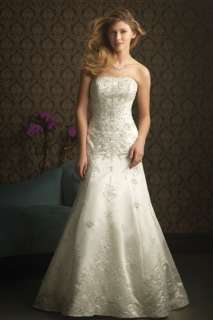 Elegant Satin Embroidery wedding Dresses Bridal Gown