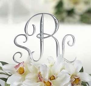 pc Silver Initial Monogram Rhinestone Wedding Cake Topper