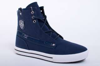 NEW MENS COOGI VICTOR NAVY BLUE CANVAS HIGH TOP SNEAKERS SHOES SIZE 7