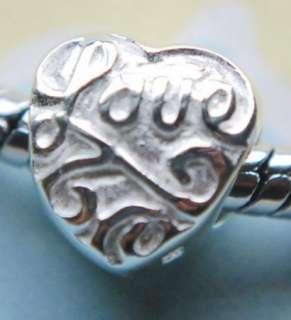 925 SILVER BEAD EUROPEAN CHARM LOVE HEART VALENTINE Y26