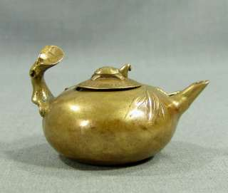 ANTIQUE CHINESE JAPANESE CHINA BRONZE TEA TEAPOT TURTLE