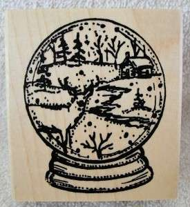 Northwoods rubber stamp Christmas small Snow Globe deer