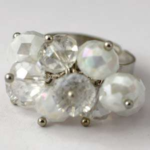 d8172 Clear Wedding Cluster Crystal Gems Beads Adjustable Ring Fashion