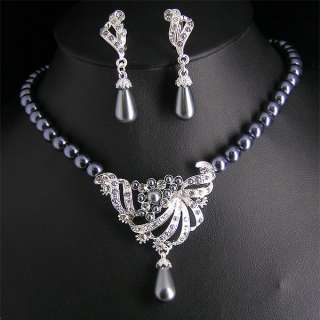 Wedding/Bridal pearl &crystal necklace earring set S271
