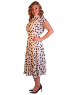 Vintage Nylon Day Dress Black Rose Print 1950S 38 28 Free Easy Care