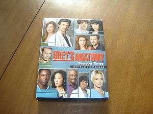 GREYS ANATOMY SEASON 3 THREE THIRD 3RD COMPLETE 7 DVDS LOT EXTENDED