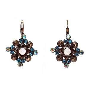 Earrings   E40   Gold Tone Spirals with Swarovski Crystal