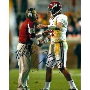 Nick Saban & John Parker Wilson Signed Autographed Alabama