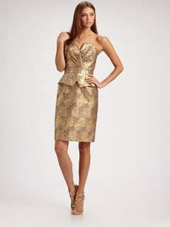 Theia   Metallic Brocade Strapless Peplum Dress