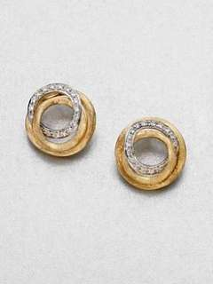 Marco Bicego   Diamond Accented 18K Gold Knot Button Earrings