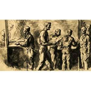 1944 Print Fort Dix New Jersey Reginald Marsh Soldier Service Wartime