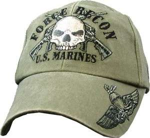 FORCE RECON USMC US MARINE CORPS EMBROIDERED BALLCAP CAP HAT