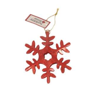 Holiday Time Snowflake Ornament, Red Christmas Decor