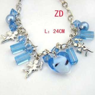 A0333 Blue Heart glass Crystal Pearl bead Amor Bracelet