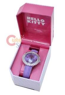 Sanrio Hello Kitty Wrist Watch w/Stone Purple License