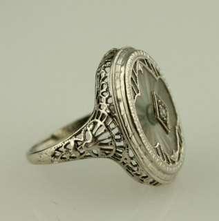 14K white gold filagree setting, rock crystal & diamond Art Deco ring
