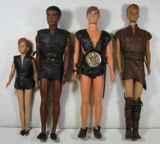 VINTAGE 1960S MATTEL DOLLS/ACTION FIGURES WITH REAL LEATHER OUTFITS