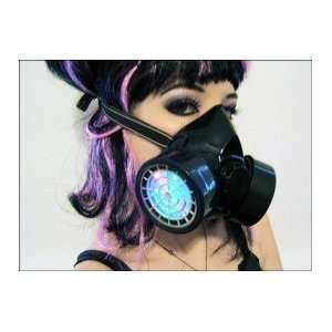 LED Respirator Gas Mask  Black Frame with WHITE LED lights