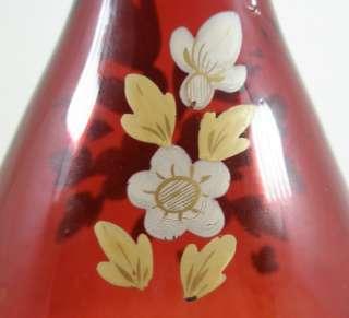 Bohemian Antique Large Ruby Flashed Glass Vase c1850 80