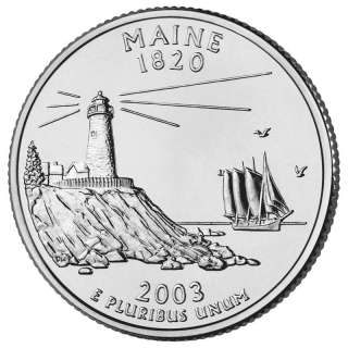 Maine Lighthouse 25¢ ME Quarter Cut Coin Necklace Pine Tree State