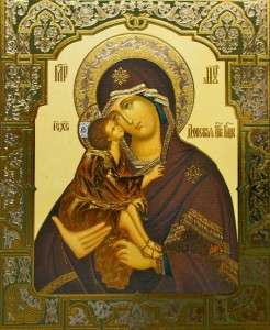 RUSSIAN ORTHODOX ICON HOLY MARY JESUS 11BY13 DOSKAYA