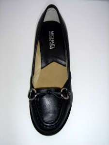 WESTSIDE MID MOC MICHAEL KORS BLACK LOAFER HEEL SHOE 7