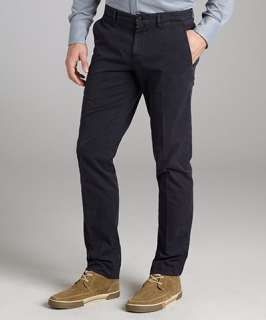 Brunello Cucinelli navy cotton twill flat front cuffed pants