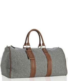 Brunello Cucinelli grey felt leather trimmed duffel bag   up