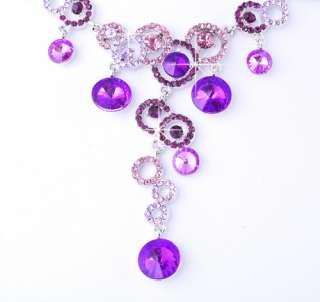 Bead Link Czekh Rhinestone Crystal Bridal Necklace Earrings 1Set