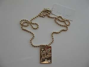 Baby Phat New Gold Pendant Necklace Bead Style Chain NWT
