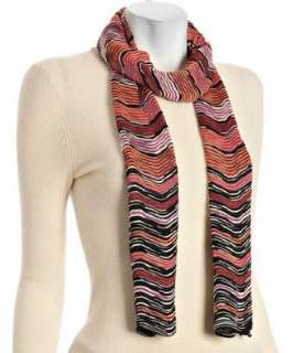 Missoni purple wave patterned knit scarf