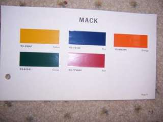 1967 Du Pont Truck Paint Color Chip Sample Chart Mack p