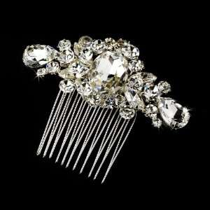 Exquisite Silver Clear Crystal Hair Comb Jewelry