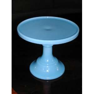 6 Blue Delphite Milk Glass Pedestal Cake Stand Saver