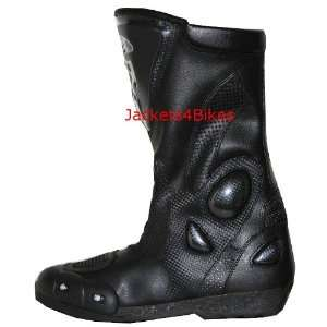 NEW MENS LEATHER MOTORCYCLE BOOTS w/ SLIDERS BLACK 8 Automotive