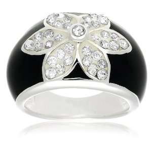 Sterling Silver, Cubic Zirconia and Enamel Flower Ring by David Sigal