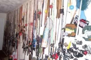 MIX LOT OF ABOUT 500 FISING ITEMS RODS,REELS,TACKLE BOX