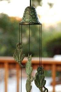 21 Brass Verdi Green Verdigris Cat Kitten Hanging Wind Chime