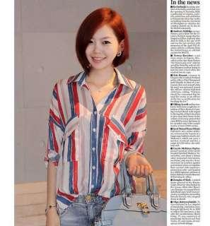 New Stylish Korean Women Half Sleeve Stripe shirt Blouse Loose Dress