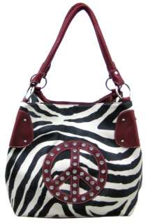 Large Zebra Print Peace Sign Jeweled Purse Red Trim